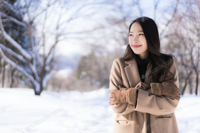 Portrait Young Beautiful asian woman smile happy travel and enjo