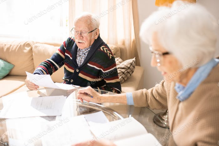 Senior Couple Working with Documents