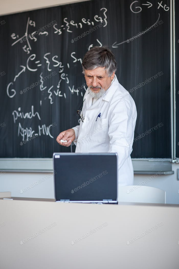 Thumbnail for Senior chemistry professor writing on the board while having a c