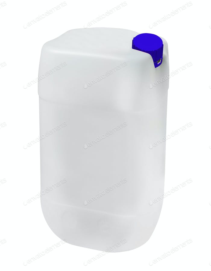 Blank plastic canister for motor oil isolated on white