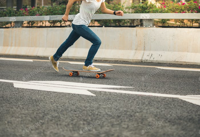 Skateboarding on highway