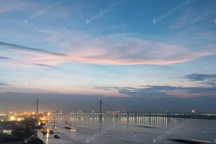 jiujiang cable stayed bridge in nightfall