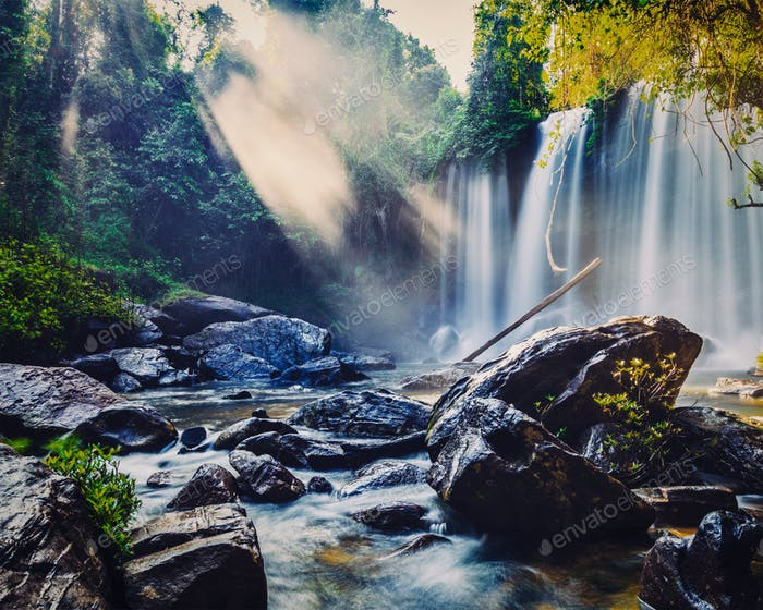 Tropical waterfall in Cambodia