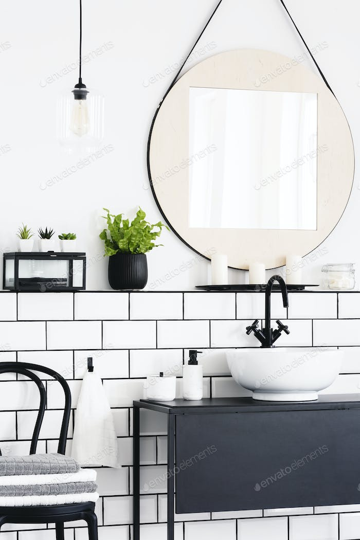 Real photo of a toilet interior with a mirror, plant, chair and