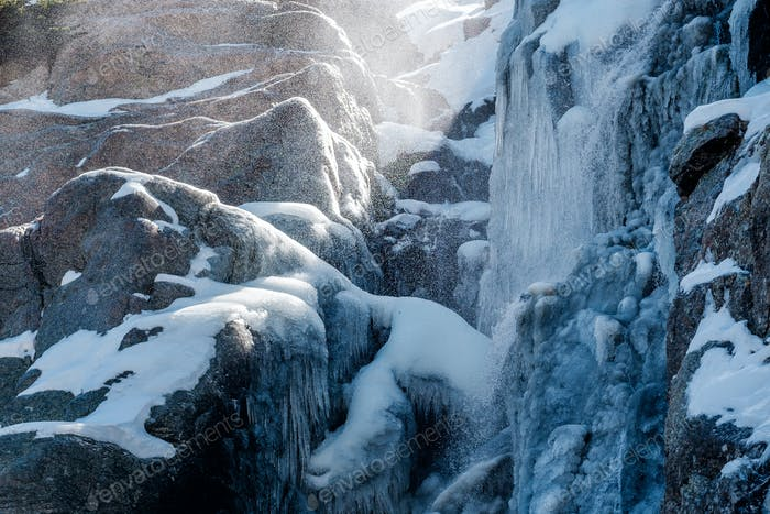 Icicles on Timberline Falls waterfall