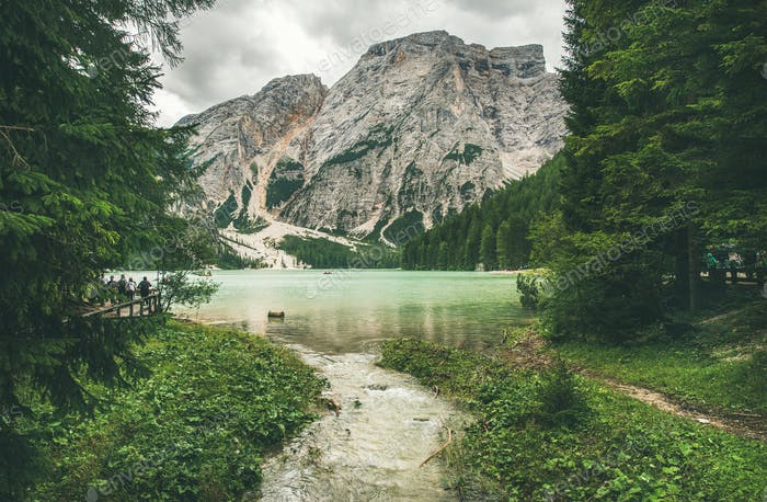 Mountain Lake in Valle di Braies surrounded by forests