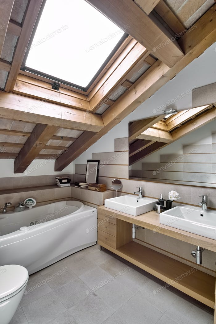 Interiors of the Bathroom in the Attic