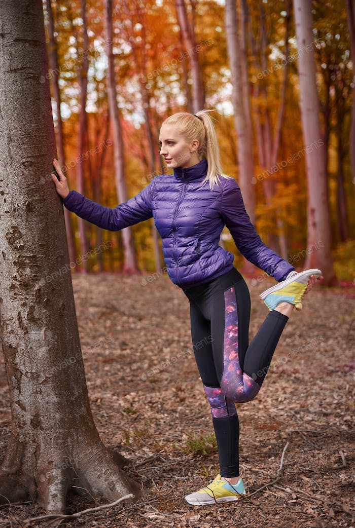 Body stretching in the forest