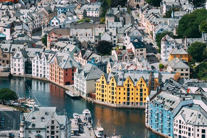 Alesund, Norway. View Of Alesund Skyline Cityscape. Historical Center In Summer Sunny Day. Famous