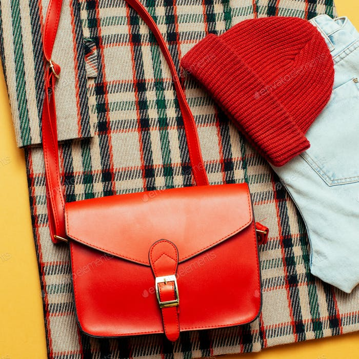 Checkered coat and red accessories. Fashion Trendy Urban Style