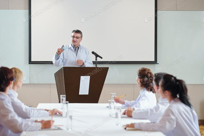 Researcher speaking at conference
