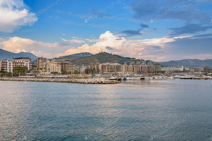 Salerno marina at sunset
