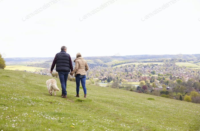 Rear View Of Mature Couple Taking Golden Retriever For Walk