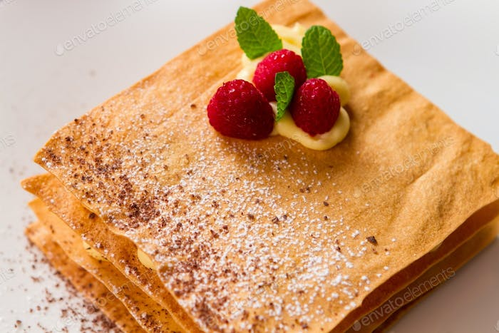 Pastry with raspberries
