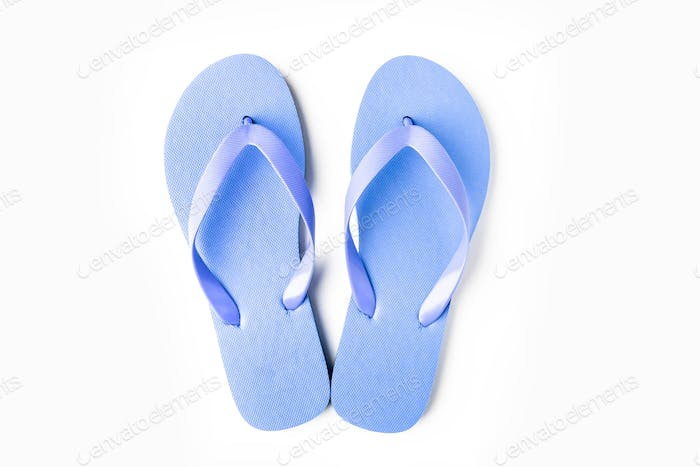 Blue flip flops isolated on white background