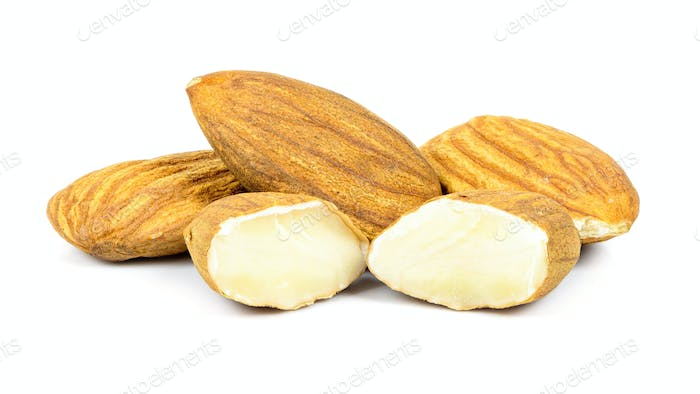 Almond nuts on white background