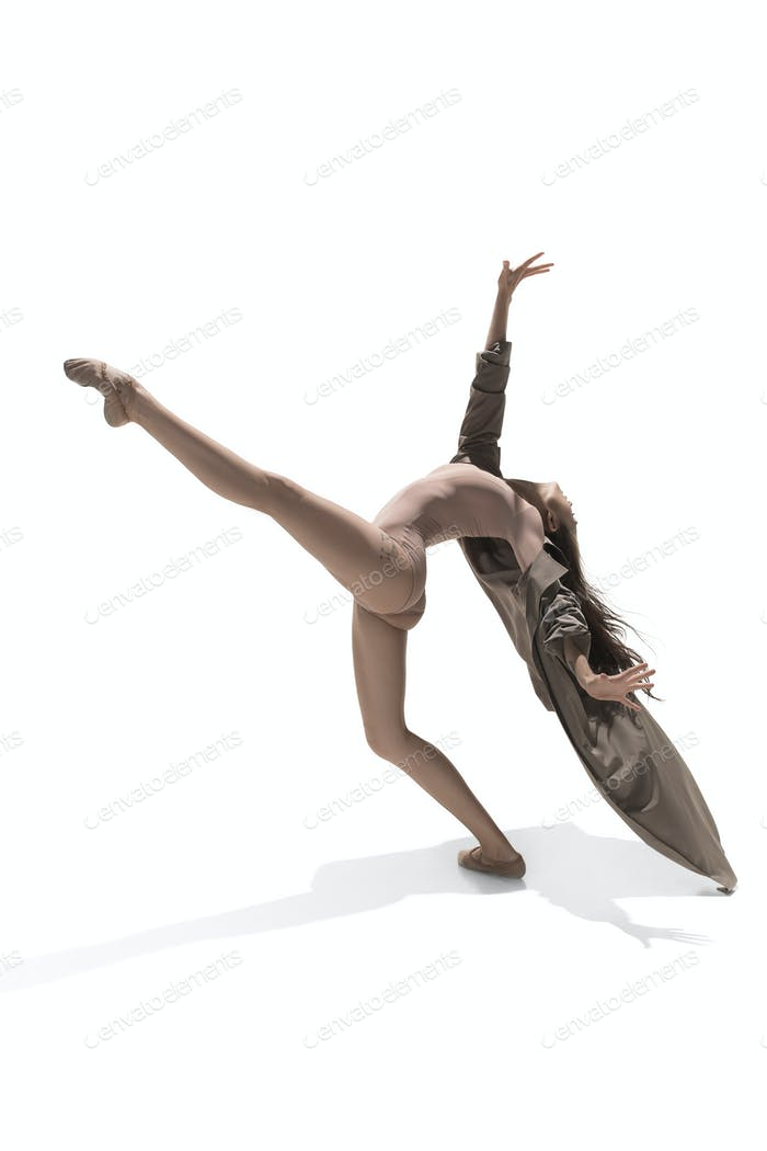 Beautiful slim young female modern jazz contemporary style ballet dancer