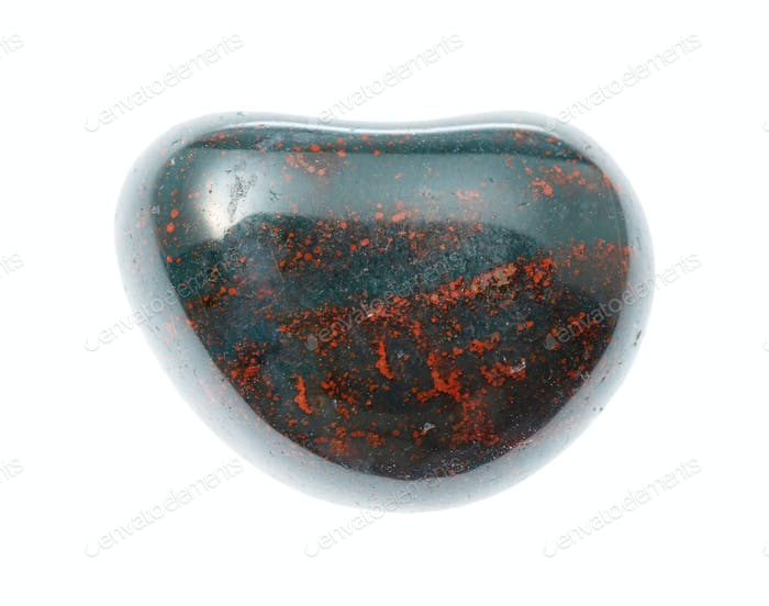 tumbled Heliotrope (Bloodstone) gemstone isolated