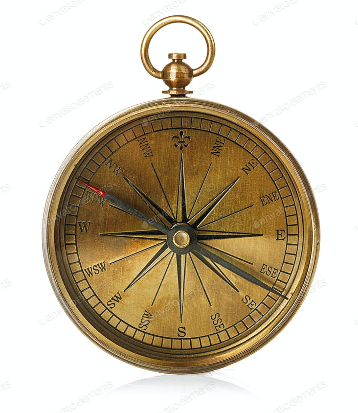 Alter Vintage Messing Kompass isoliert auf einem weißen Hintergrund.