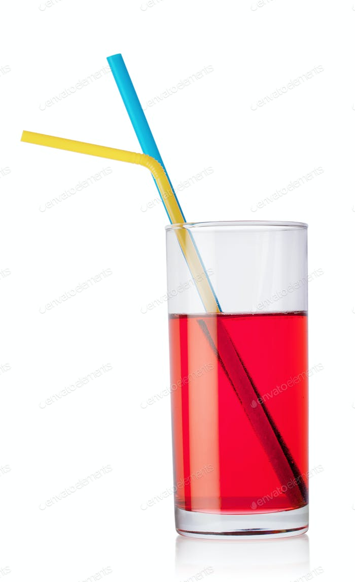Glass of red drink and tubes