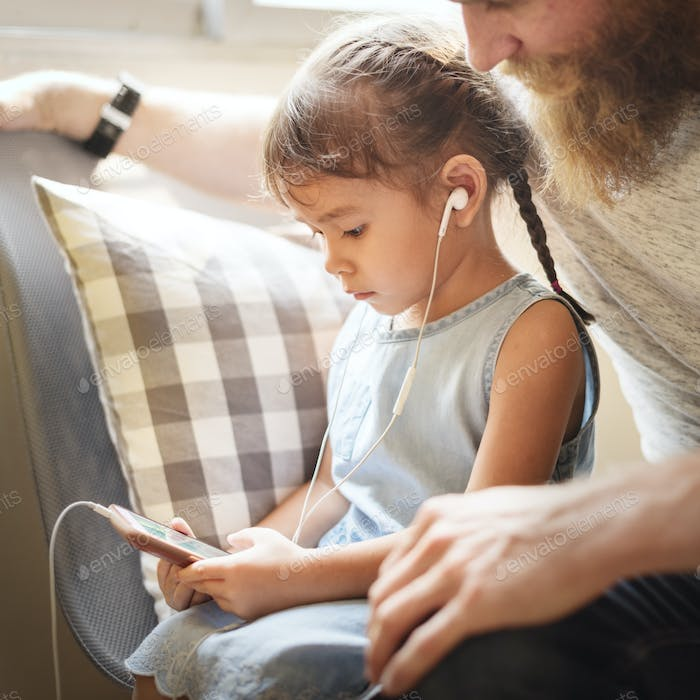 Family Father Daughter Love Parenting Listening Music Togetherne