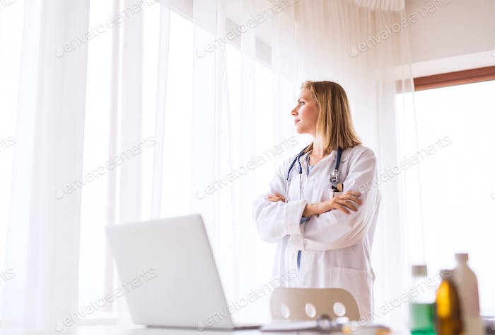 Portrait of a young female doctor.