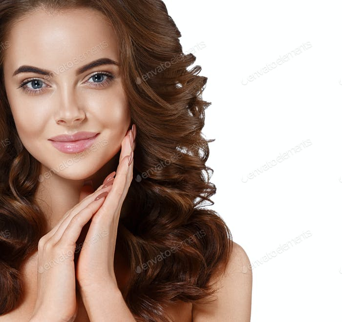 Woman cosmetic closeup beauty portrait. For salon advertisement beautiful people. Touching her face.