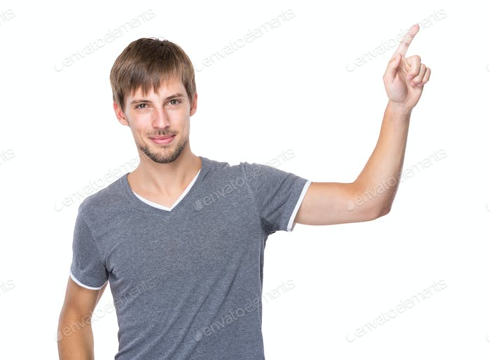 Young Man with finger point up