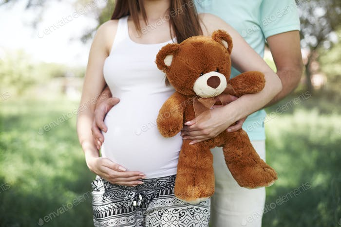 Part of future parents with teddy bear