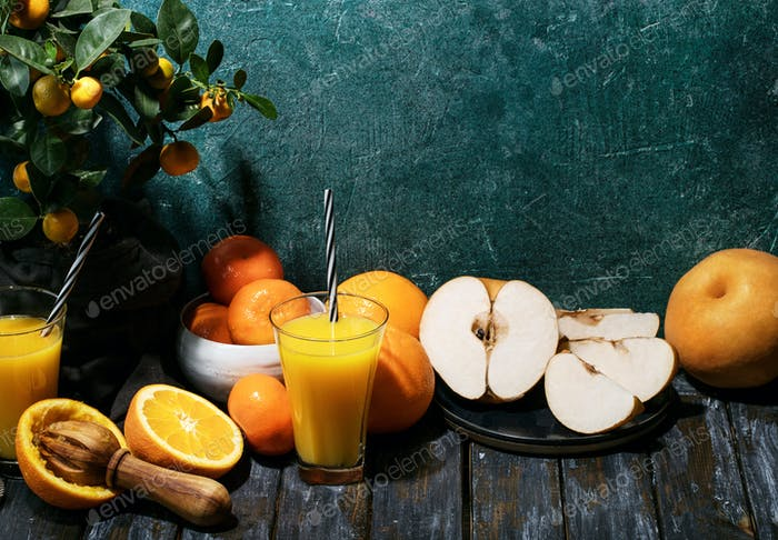 Orange Juice served with oranges