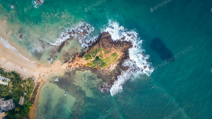 Aerial view of parrot rock island in Sri Lanka