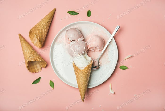 Flatlay of pastel pink strawberry and coconut ice cream scoops