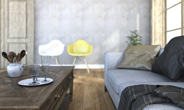 3d rendering beautiful depth of field of living room