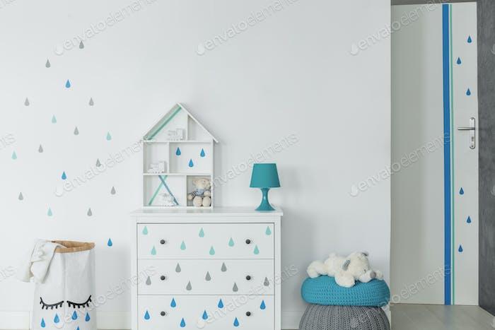 Baby boy room in scandinavian style