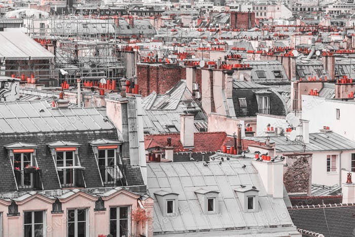 Panoramic view of architectural details of roofs in Paris, France in creative retouch.