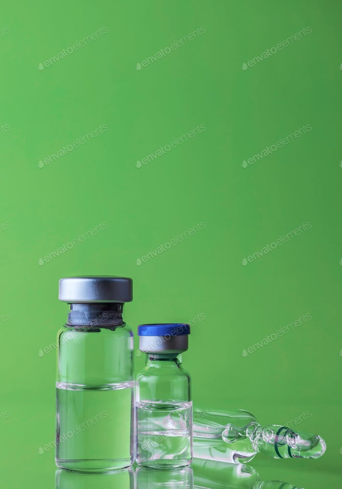 Medicine in vials , ready for vaccine injection