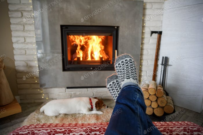 Hygge concept with man legs