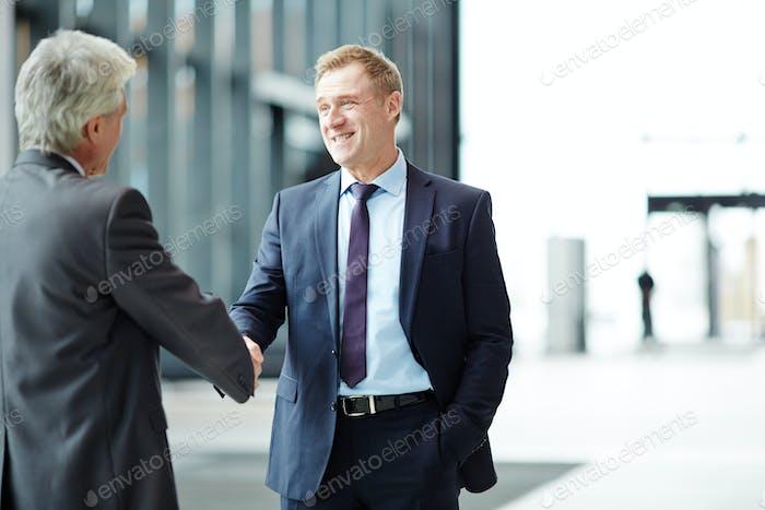 Handshaking in airport