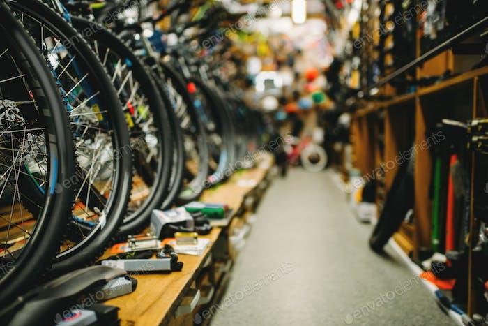 Fahrradladen, Reihen von neuen Fahrrädern, Fahrradsportgeschäft