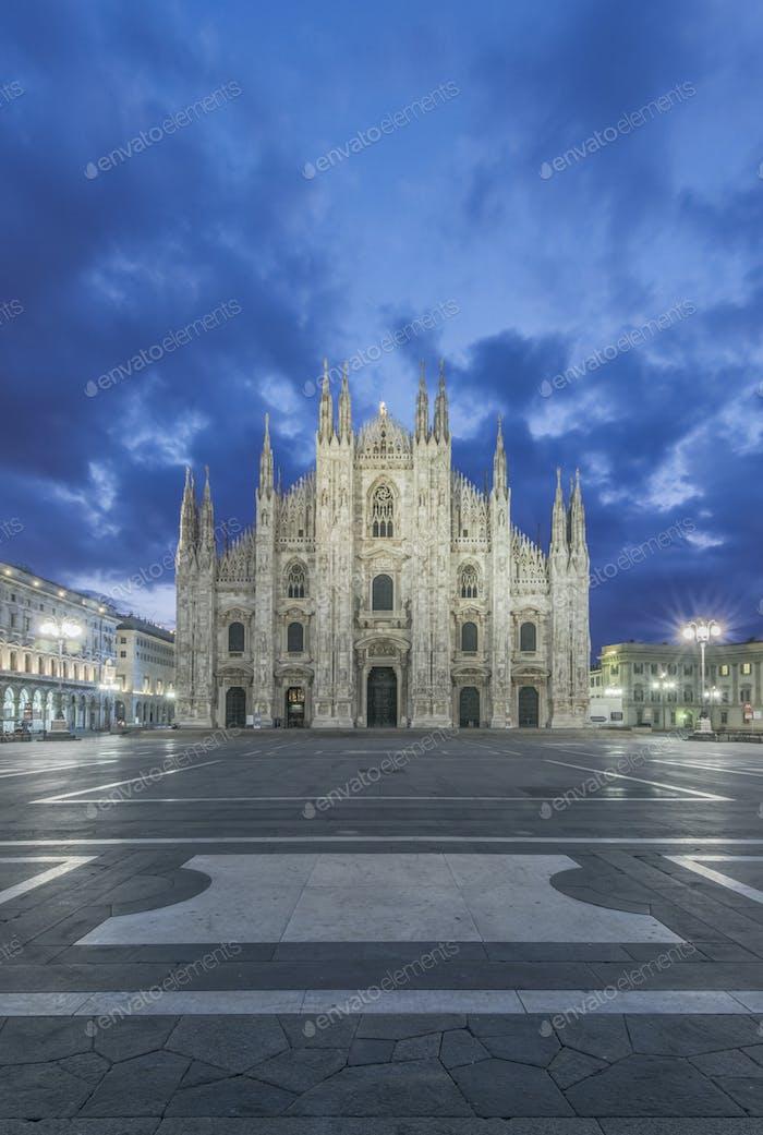 Duomo di Milano cathedral illuminated at night, Milan, Italy