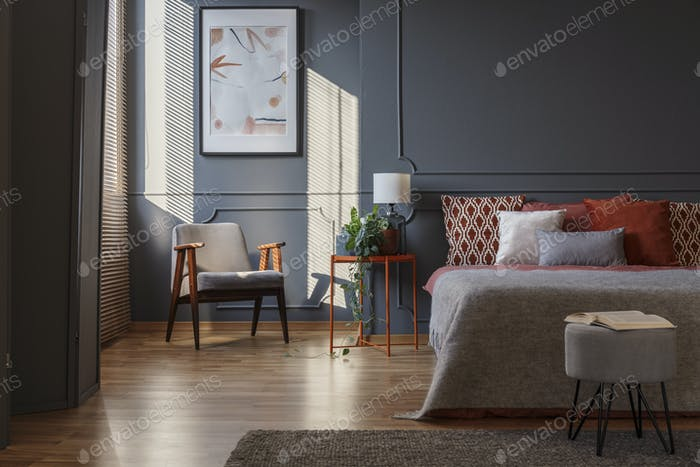 Dark grey bedroom interior