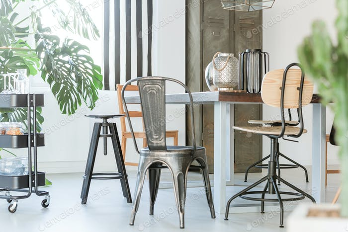 Dining room with metal furniture