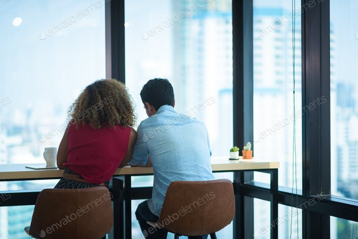African American woman and caucasian man, couple people are happy together