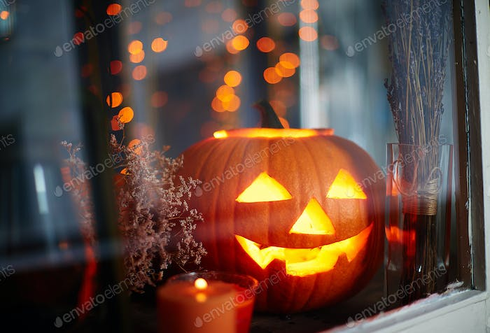 Jack-o-lantern in window