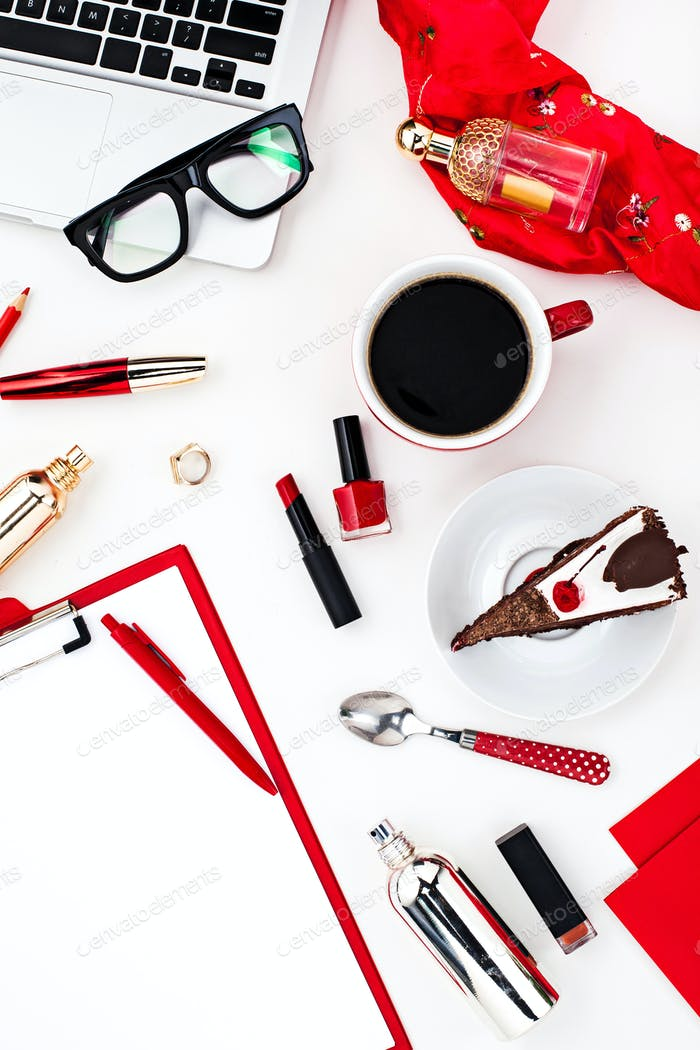 Still life of fashion woman, objects on white