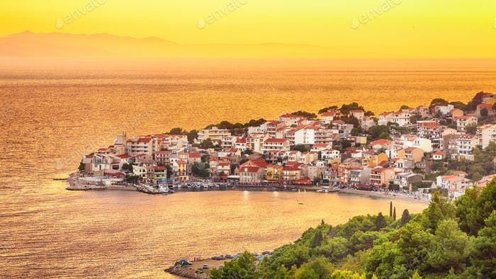 Sunset overview across the beautiful bay of Igrane village in Makarska riviera