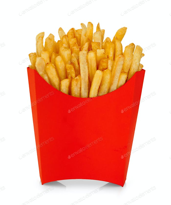 French fries in a red carton box isolated on white background.