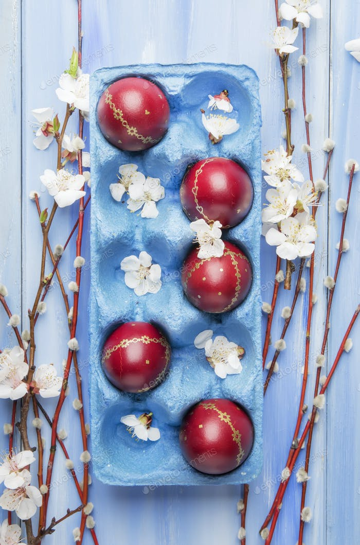 Easter blue wood background