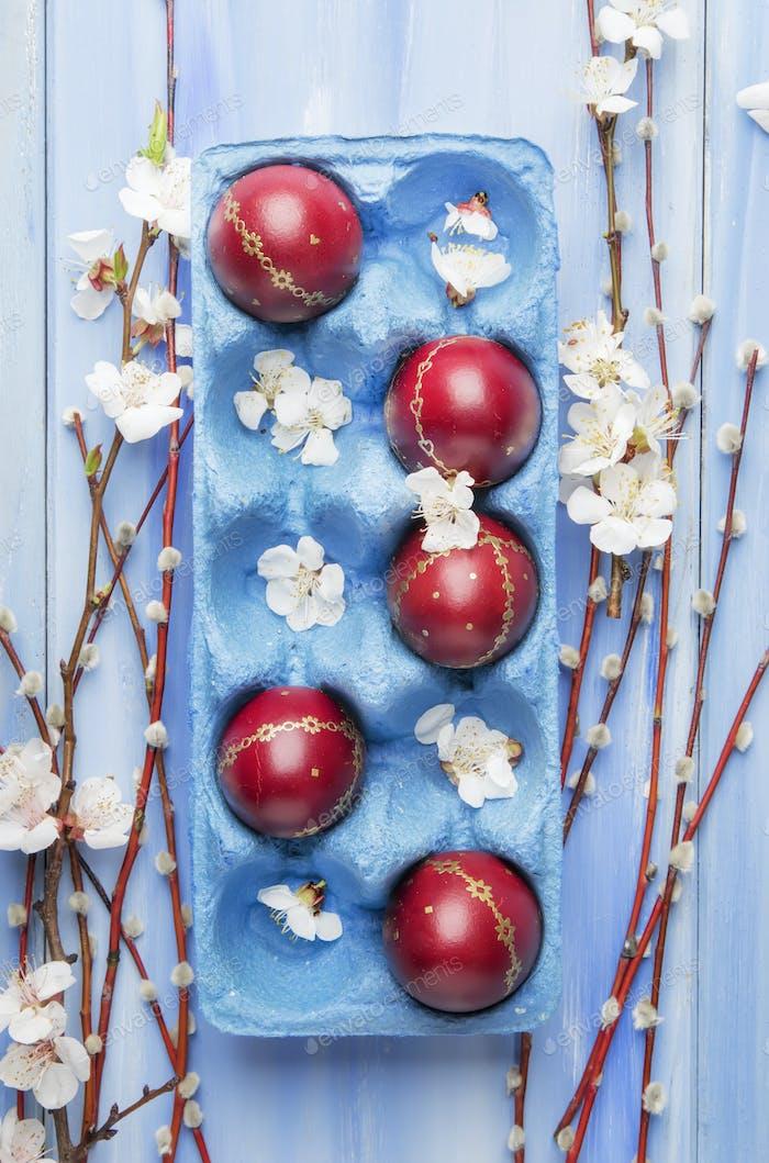 Fond en bois bleu de Pâques