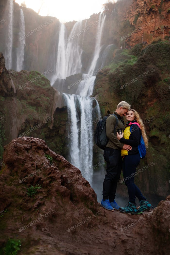 Adventurer couple near Ouzoud waterfall in Morocco